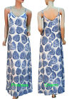 Womens Summer Beach Day Maxi Dress Blue White Fern Leaf Print Size 8 12 Long New