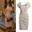 New Women Square Neck Princess Kate OL Commuter Career Fitted Dress Pencil Skirt