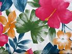 TROPICAL FLORAL HIBISCUS PALM Umbrella Hole Zipper VINYL Tablecloth Pink Orange