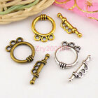 60Sets Tibetan Silver,Antiqued Gold,Bronze 3-Holes Connector Toggle Clasps M1416