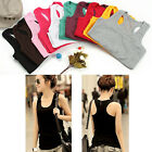 New Girls Womens Casual Solid Racer Vest Dress Tank Top Long T-shirt 8 Color