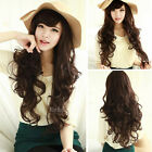 new fashion style curly wavy full hair wigs womens cosplay party brown long wig