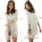 Womens Lady Sexy Off Shoulder Clubwear Party Cocktail Lace Top Mini Dress White