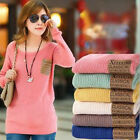 Women Loose Knitted Sweater Pocket Jumper Long Sleeve Crew Neck Pullover Outwear