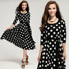 New Womens 50s Vintage Polka Dot Swing Jive Rockabilly Evening Party Dress Skirt