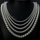 "3//4/6/8mm Mens Chain Stainless Steel Wheat Braided Necklace Chain DIY 20""-30''"
