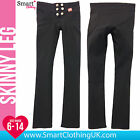 NEW Womens Work Girls School Trousers Straight Skinny Stretchy Black Short Long