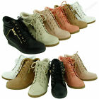 Womens High Fashion Wedge Heel Shoes Lace Up High Top Stylish Sneakers Shoe Size