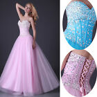 3Colors BEADED Corset Evening/Formal/Bridesmaid/Ball gown/Party/Prom Long Dress