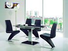 ENZA EXTENDING GLASS CHROME DINING ROOM TABLE & 4 Z CHAIRS SET-FURNITURE-632-811