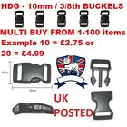 UK POST= 10mm 3/8 CONTOURED QUICK RELEASE BUCKLE CLIP-PARACORD BRACELET SURVIVAL