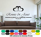 Personalised Always And Forever Names & Date, Quote Sticker, Wallart Home Decor