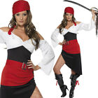 Womens Red Sassy Pirate Wench Fancy Dress Costume Film Character Outfit