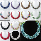 "Free Shipping Chips Gemstone Beads Weave Necklace Jewelry 17 1/2 "" MBH007"
