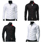 Trendy Mens Button Down Slim Fit Long Sleeve Shirts Casual Formal Dress Shirts