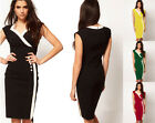 Womens V-Neck Sleeveless Bodycon Pencil Tunic Midi Wiggle Tight Club Party Dress
