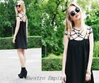 Black Blogger Cage Retro Indie Chiffon Ladies Party Mini Dress