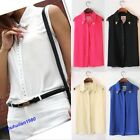 Popular Women Rivet Chiffon Sleeveless T-Shirt Blouse Stand Collar Vest Tops New