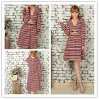 Striped Sexy Women Cotton Casual Dress Hat Hoddie Deep V Neck Elastic Waist