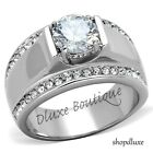 1.65 CT OVAL CUT CUBIC ZIRCONIA SILVER STAINLESS STEEL RING MEN'S SIZE 8-13
