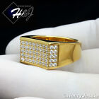 MEN's Gold Over Stainless Steel Silver 1.62 Carat CZ Iced Out Bling Ring*R58