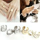 FD143 3Pcs Cut Above Knuckle Smooth Band Mid Finger Top Stacking Split Ring /