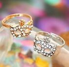 FD357 Gold Silver Plated Princess Queen Ring Rhinestone Diamond Mask Ring ~1pc/