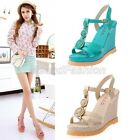 Womens Ladies Summer Open Toe T-Strap Platform Espadrille Wedge Sandals Shoes