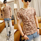 Men's Flower Print Short Sleeve Shirts Casual Slim Round Collar T-Shirt Tee Tops