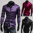 Luxury Silk-Like Satin Men Solid Color Cool Long Sleeve Dress Formal Slim Shirts