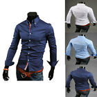 Men's Trendy Designer Casual Formal Long Sleeve Dress Shirts Slim Fit Tops Shirt