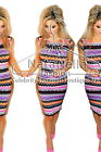 Womans ♦ Aztec Zig Zag Celeb Summer Cap Sleeve Midi Dress