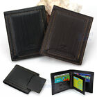 Stylish Men's Genuine Leather Wallet Short Bifold Card Holder Pouch Black/Brown
