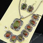 Rushed Direct Selling Flower Stone Necklace Earring Bracelet Vintage Jewelry Set