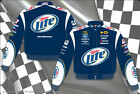 2014 Brad Keselowski Miller Lite  Mens Navy Cotton Authentic Nascar Jacket-JH