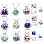 New Charming Jewelry Crystal Heart Bags Rhinestone Pendant Chain Necklace