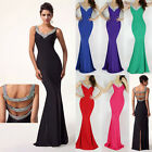 Sexy V Backless Split Bridesmaid Ball Gown Evening Formal Party Prom Long Dress
