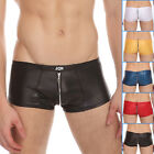 Promotion Zipper Decorated Sexy Mens Underwear Boxer Brief Trunks Faux Leather