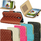 Leather Quilted Magnetic Wallet Flip Stand Case Cover Purse Various Mobile Phone