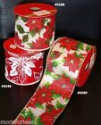 "Ribbon Wired Edge CHOOSE Christmas Red Green Poinsettia 24 Feet 2 1/2"" Wide 8Yrd"