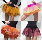 Ladies Layered Rainbow Halloween Orange Tulle Petticoat Tutu Skirt Fancy Dress