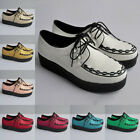 LADIES WOMENS PUNK ROCK GOTHIC PLATFORM LACE UP FLATS CREEPERS SHOES UK 2-9