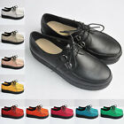 LADIES WOMENS PLATFORM LACE UP PUNK GOTHIC ROCK FLATS CREEPERS SHOES UK 2-9