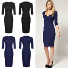 Fashion Woman 3/4 Sleeve Wear to Work Office Celeb Bodycon Sheath Pencil Dresses