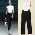 Fashion Casual Office Splicing Womens Long Pant Jumper Jumpsuit Romper Size S~XL