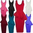 Womens Sleeveless Frill Double Peplum Pencil Skirt Ladies Midi Bodycon Dress