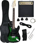 Crescent GREEN BLACK Electric Guitar+15w AMP+Strap+Cord+Gigbag NEW