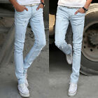 Men's Stretchy Skinny Jeans Pencil Pants Casual Wash Ripped Hole Denim Trousers