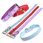 Adjustable XS S M Pet Dog Collar Puppy Pet Studded Collars Neck Strap PU Leather