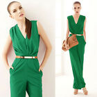 Women Summer SEXY Deep V-Neck Sleeveless Bodycon Overall Jumpsuit Romper Casual